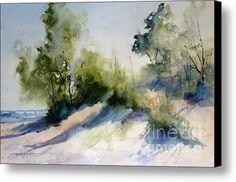 Lake Michigan Morning Canvas Print / Canvas Art By Sandra Strohschein #watercolor jd