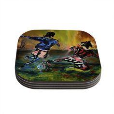 Kess InHouse Josh Serafin 'Slidetackle' Soccer Coasters