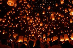 Lantern Festival in Thailand. --This would be so cool to see... it looks like a million little stars!