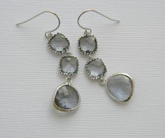 Bridesmaid Earrings - Gray - White Gold - Czech Glass - Double Tier - Bohemian Earrings - Boho Chic. $36.00, via Etsy.