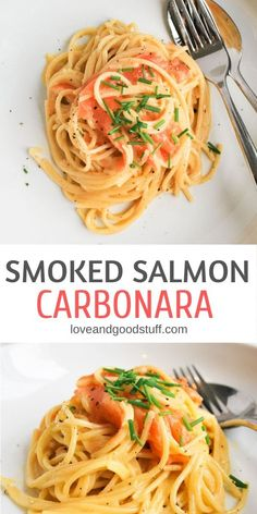 Smoked salmon carbonara is the easiest pasta dish you will ever make - and possibly the most impressive! On the table in 15 minutes, this is the silkiest, creamiest carbonara - perfect for entertaining, date night, or any night you feel like indulg Appetizers For A Crowd, Seafood Appetizers, Best Seafood Recipes, Fish Recipes, Cake Recipes, Smoked Salmon Carbonara, Pasta With Smoked Salmon, Seafood Carbonara, Smoked Salmon Risotto