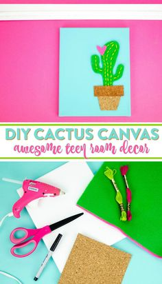 I was brainstorming Valentine's crafts and decor the other day and I guess my love of cacti brought this DIY Cactus Canvas to my mind.
