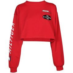 Racing Crop Sweatshirt ($265) ❤ liked on Polyvore featuring tops, hoodies, sweatshirts, red, cotton crop top, cropped sweatshirt, red sweatshirt, tommy hilfiger and red crop top