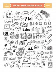 Hand drawn vector illustration of social media doodles elements Isolated on…