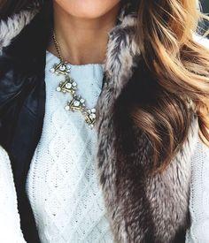 faux fur + cable knit