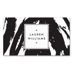 Elegant and Abstract Black and White Brushstrokes Business Card Template - ready to personalize with your info