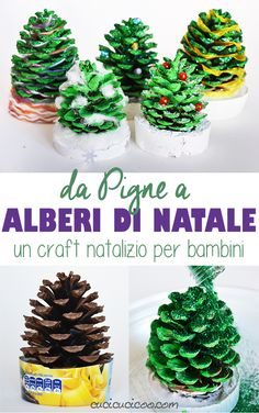 Pine Cone Christmas Trees: a tutorial for kids - Cucicucicoo This adorable holiday craft is easy and fun for kids, and a great gift for them to give to loved on Pine Cone Christmas Tree, Christmas Trees For Kids, Christmas Activities For Kids, Holiday Crafts For Kids, Crafts For Kids To Make, Christmas Crafts For Kids, Simple Christmas, Christmas Tree Decorations, Pine Cone Crafts For Kids