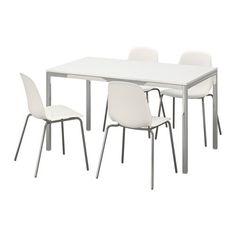 Ikea Table and 4 chairs, high gloss white, white 16204.20517.266