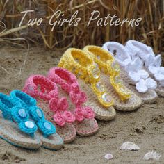 Crochet Patterns for  Seaside Sandals for baby - BOTH Versions and 2 sizes included in pattern - Pattern number 211 Instant Download. $5.50, via Etsy.