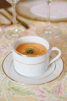 chilled cantaloupe + ginger soup | maybank catering | upstairs at midtown | riverland studios | bridal luncheon menu