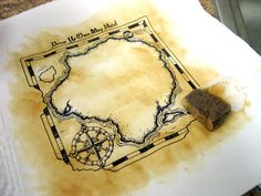 DIY Pirate Map - make it look old by dabbing with tea water, dry overnight