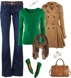 """camel + green"" by jill-hammel on Polyvore I would not wear green shoes with the green top, but loving the leopard and green and camel together."