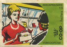 Verkoopster - shop girl - vintage match box label