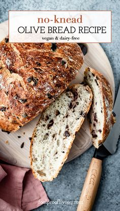 Crusty and Rustic Olive Bread Recipe (VIDEO!) - Foolproof Living - This Olive Bread is a rustic and crusty no-knead bread recipe that anyone can make. Packed with Kal - Olive Bread Recipe Video, Loaf Bread Recipe, Loaf Recipes, Black Olive Bread Recipe, Bread Soup, Bread Bowls, Olive Loaf, Olive Oil Dip For Bread, Bread Recipes