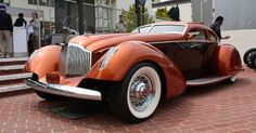 """1934 Packard """"Myth"""" boattail coupe,designed by Strother MacMinn, built by Fran Roxas, Scott and Dave Knight,  3/4 front view, color"""