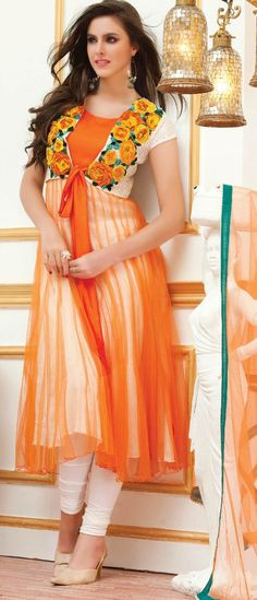Orange and White Readymade Net Churidar Kameez @ $97.08 | Shop @ http://www.utsavfashion.com/store/sarees-large.aspx?icode=kht16