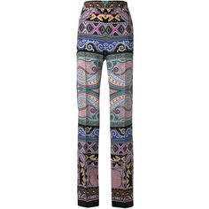 Etro Floral Paisley Straight Trousers (17.304.830 IDR) ❤ liked on Polyvore featuring pants, trousers, multicolour, etro, multi color pants, floral silk pants, straight pants and floral pants