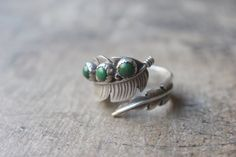 Navajo Feather Wrap RING / Vintage Sterling Silver Jewelry / Adjustable Southwestern Ring