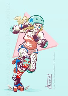 Roller Derby girl by Ibon Sánchez #rollerderby #rollergirl Fitness Transformation, Character Poses, Character Design, Roller Derby Girls, Derby Skates, Feminist Art, You Draw, Roller Skating, Disney Wallpaper