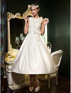 -line Bateau tea-długość sukni ślubnej satyny (631179) - EUR € 107.24
