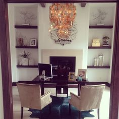 @blytherhodes' home office is gorgeous! Features our Lola Side Chairs, Capiz Chandelier, Empire Mirror, and Silver Branch Tree in Pot.