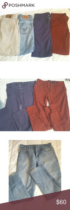Men's Jeans & Pants Bundle ☞H&M blue & burgundy/indigo colored ones are both size 30 ☞Cream colored ones are corduroy pants from American Eagle Outfitters size 30 ☞Blue jeans are Levi's size 30 and have a little bit of wear at the bottom of the jeans  ☞Price is for everything Levi's Pants