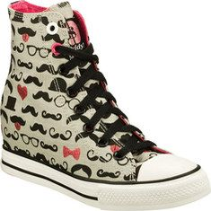 Give respect to the 'stache in the Daddy'$ Money: Gimme - Mustache shoe.  Woven canvas fabric upper with an all over mustache print in a lace up casual high top hidden wedge sneaker with stitching and overlay accents.Soft fabric shoe lining. Cushioned insole. Hidden 2 inch wedge heel. Shock absorbin