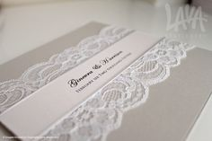 Grey and white lace wedding invitation by www.lavastationery.com.au