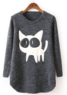 Black Long Sleeve Contrast PU Leather Cat Pattern Sweater EUR€24.34