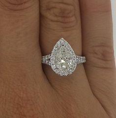 1.75 CT PEAR SHAPE CUT F/VS2 DIAMOND SOLITAIRE ENGAGEMENT RING 14K WHITE GOLD