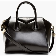 Givenchy Black Leather Antigona Small Shoulder Bag ($1,965) ❤ liked on Polyvore featuring bags, handbags, shoulder bags, bolsas, borse, accessories, leather purses, hand bags, genuine leather shoulder bag and leather hand bags