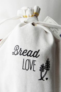 BREAD Bag Cotton Linen Screenprinted with Bread by ArtThatMoves, $24.00