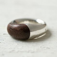 Silver & Wood Ring by Terrain