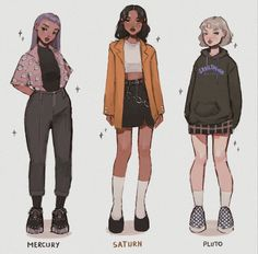 Choose your fighter ✊🏻 planet edition; (shoutout to the sister Pluto whom i wanted to draw but who's had her planet card revoked) . Indie Outfits, Teen Fashion Outfits, Cute Casual Outfits, Retro Outfits, Fashion Art, Cute Art Styles, Cartoon Art Styles, Fashion Design Drawings, Fashion Sketches