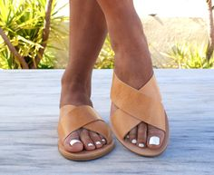 ERIS sandals/ ancient Greek leather sandals/ slide sandals/ classic leather sandals/ handmade sandals/ summer sandals/ criss cross sandals by Leatheropolis on Etsy https://www.etsy.com/listing/503129468/eris-sandals-ancient-greek-leather