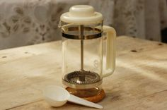 Vintage small Danish Bodum coffee press, bistro plunger glass pot in original package with cork coaster. In good shape, no nicks or cracks. The box has some wear. Cork Coasters, Danish Design, Small Businesses, Denmark, Cyber, Coffee Maker, Old Things, My Etsy Shop, Group