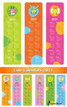 Cute Calendars 2011 - Stock Vectors