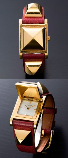 Hermes Medor Watch - well that's just sexy High Jewelry, Jewelry Art, Jewelry Accessories, Fashion Accessories, Fashion Jewelry, Hermes Jewelry, Jewelry Watches, Ringa Linga, Hermes Watch