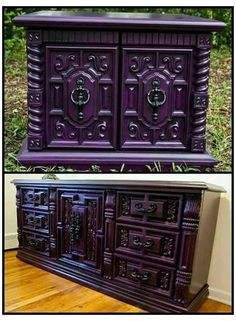 Purple Furniture, Gothic Furniture, Funky Furniture, Unique Furniture, Furniture Makeover, Furniture Decor, Painted Furniture, Bedroom Furniture, Luxury Furniture