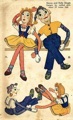 "Vintage 1940s Girl /& Boy Dolls Pattern ~ BIG 29/"" tall Danny /& Dolly Dingle"