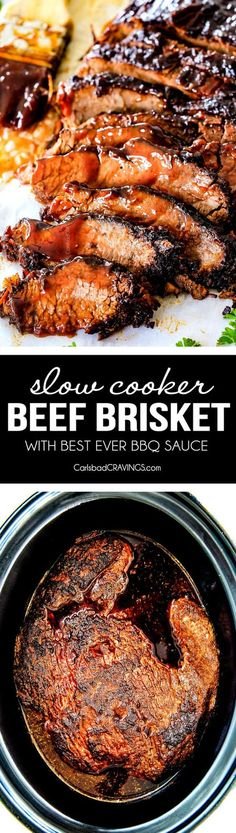 """Wonderfully juicy, flavor exploding, melt-in-your-mouth Slow Cooker Beef Brisket is my favorite meat dish EVER and """"better than any restaurant"""" according to my food critic husband! It's the ultimate easy company dinner because it can be made days in advance then reheated in the slow cooker for stress free entertaining! via @carlsbadcraving"""