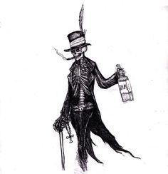 Baron Samedi by KingOvRats Spooky Tattoos, Skeleton Tattoos, Skull Tattoos, Sleeve Tattoos, Baron Samedi, Papa Legba, God Tattoos, King Tattoos, Vodoo Tattoo