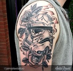 Black And Grey Sugar Skull Stormtrooper.  #StarWars #Tattoo #StarWarsTattoo