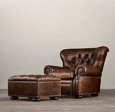 Most Pinned LALs #3: Restoration Hardware Churchill Leather Chair and Ottoman | Decor Look Alikes
