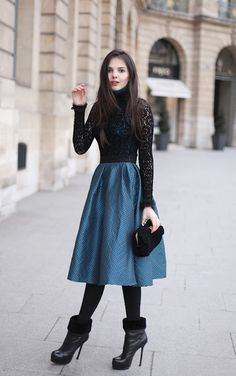 Doina Ciobanu (The Golden Diamonds) - ASOS polo and skirt, vintage lace, Yves Saint Laurent tribtoo boots, and Moschino Love clutch.