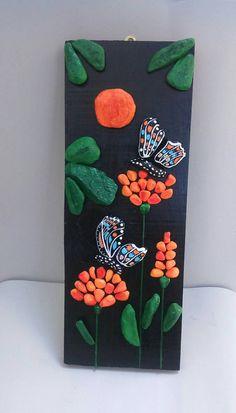 ButterfliesFlowersHandpainted Stones Pebble Art от StefArtNatural