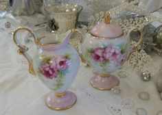 Pretty creamer and sugar hand painted for special costumer
