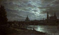 Johann Christian Clausen Dahl - Blick auf Dresden bei Vollmondschein