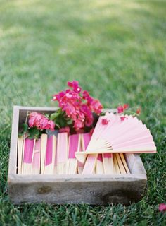 A quick way to muster up a breeze is with these pretty paper fans in vibrant hues #fans Photography: Jose Villa Photography - josevillaphoto.com Event Design and Planning: Beth Helmstetter Events - bethhelmstetter.com Floral Design: Holly Flora - hollyflora.com View entire slideshow: Beat the Summer Heat on http://www.stylemepretty.com/collection/395/