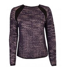 Leon and Harper Maela Zig Zag Knit Jumper in Midnight